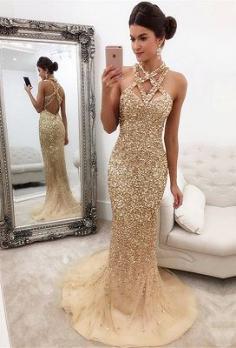 Luxus Abendkleider Lang Gunstig | Abendkleid Gold Online