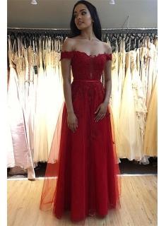 Fashion Abendkleider Lang Rot Spitze | Abendmoden Online Kaufen