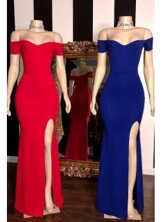Schlichte Abendkleider Lang Rot   Abiballkleider Günstig Online
