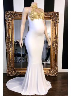 Elegante Abendkleider Lang Weiße mit Spitze   Abendmoden für Schwangere