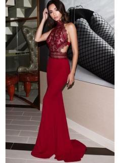 Elegante Abendkleider Lang Rot   Abiballkleider Mit Spitze Online