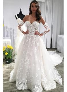 Modern Brautkleid A Linie Mit Spitze   Hochzeitskleider mit Ärmel