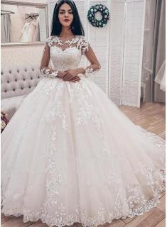 Designer Hochzeitskleider Mit Ärmel | Spitze Brautkleider A Linie