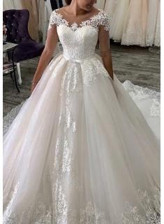 Elegante Hochzeitskleider Mit Ärmel   A Linie Brautkleider mit Spitze