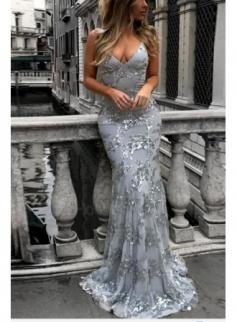 Silber Abendkleider Lang Glitzer | Abiballkleider Spitze Günstig Online