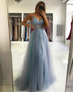 Luxus Abendkleider Blau | Abiballkleider Lang Glitzer