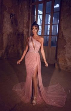 Elegante Abendkleider Lang Rosa   Abiballkleider mit Glitzer