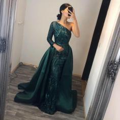 Elegante Abendkleider Lang Grün |  Abiballkleider mit Glitzer