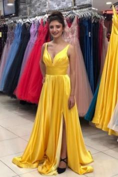 Abendkleider Schlicht Gelb | Abendkleid mit v Ausschnitt Lang
