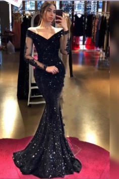 Designer Abendkleider Lang Schwarz | Abiballkleider Glitzer mit Ärmel