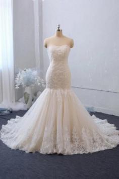 Elegante Brautkleid Meerjungfrau Spitze   Hochzeitskleider Günstig