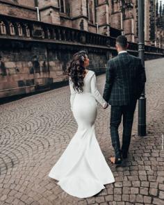 Designer Hochzeitskleider Meerjungfrau | Brautkleid mit Ärmel