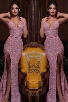 Abendkleid Lang Rosa   Abiballkleider mit Glitzer