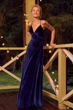 Velvet Abendkleider Lang Günstig   Abiballkleider König Blau