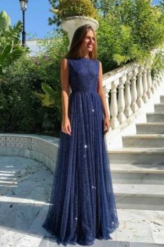 Abendkleider Lang Navy Blau | Abiballkleider mit Glitzer