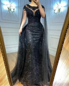 Elegante Abendkleider Lang Schwarz | Abiballkleider mit Glitzer