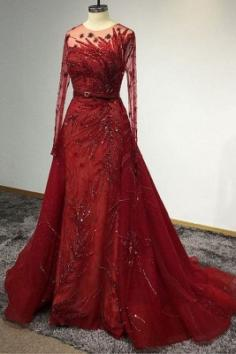 Designer Abendkleider Lang Rot   Abiballkleider Mit Glitzer