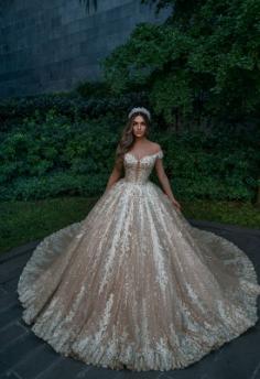 Designer Hochzeitskleider Prinzessin Glitzer | Brautkleider mit Spitze Online